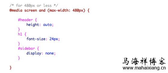 当浏览器窗口小于等于480px的时候